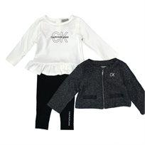 Calvin Klein חליפת שלושה חלקים (24-12 חודשים) - לבן ואפור