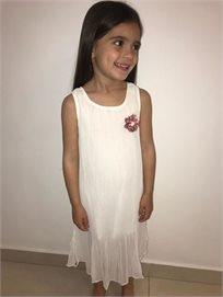ORO שמלה לבנה (7-2 שנים) - פרח
