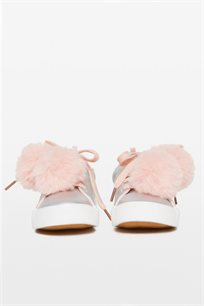 נעלי סניקרס מבריקות עם פונפון לילדות בצבע כסוף