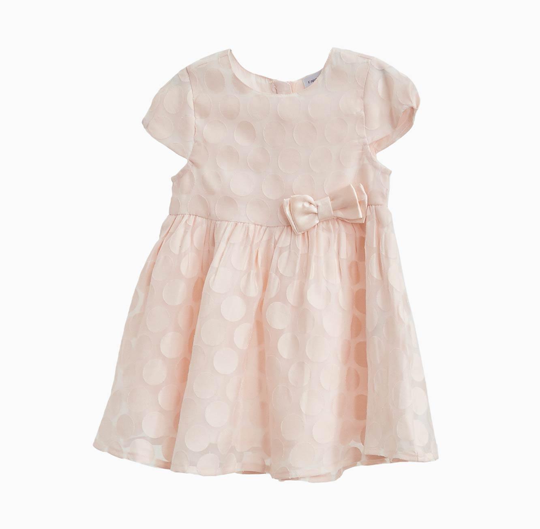 שמלה מנוקדת OVS לתינוקות וילדות מנוקדת עם ויסקוזה - ורוד בהיר