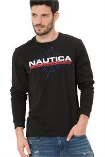 חולצת טי שרט ארוכה Nautica עם צווארון עגול לגברים דגם 93919V0TB בצבע שחור