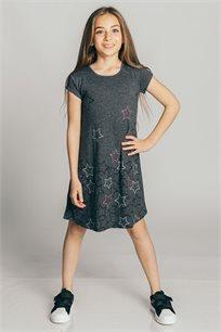 שמלת טריקו בהדפס כוכבים לילדות Kiwi בצבע אפור כהה