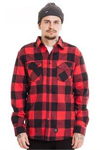 חולצת פלאנל משובצת SUPPLY בצבעי אדום ושחור