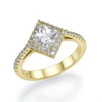 """טבעת אירוסין וינטג' """"אמילי"""" זהב צהוב בשיבוץ יהלומים 1.41 קראט"""