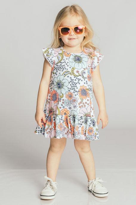 שמלת טריקו לבנות - לבן/צבעוני