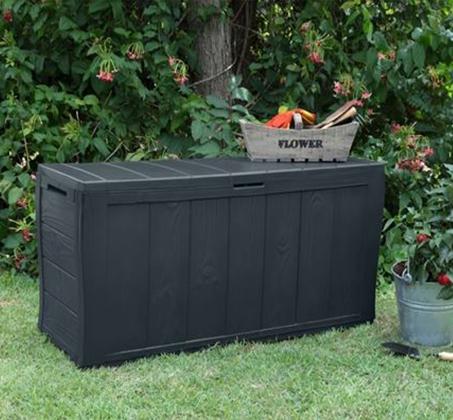 ארגז אחסון לגינה עשוי תרכובת עץ ופלסטיק דגם שרווד כתר