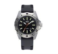 שעון יד ספורטיבי עשוי פלדת אל חלד לגברים - כסף שחור