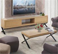 מערכת לסלון הכוללת סט מזנון ושולחן בעיצוב מודרני דגם אופיר