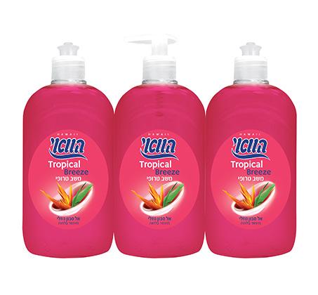 """מארז 7 שלישיות סבון נוזלי משב טרופי 500 מ""""ל בבקבוק הוואי"""