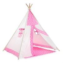 אוהל טיפי מעוצב לילדים - כוכבים ורודים