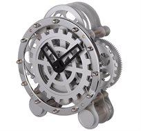 שעון שולחני מתכת גלגלים עגול