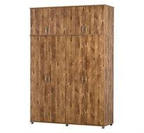 ארון בגדים 4 דלתות ותא עליון במגוון צבעים