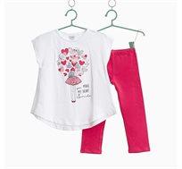 חליפת בנות חולצה עם נצנצים בהדפס ומכנסיים ארוכים