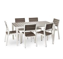 שולחן הרמוני 160 מסגרת לבנה כולל 6 כסאות כתר