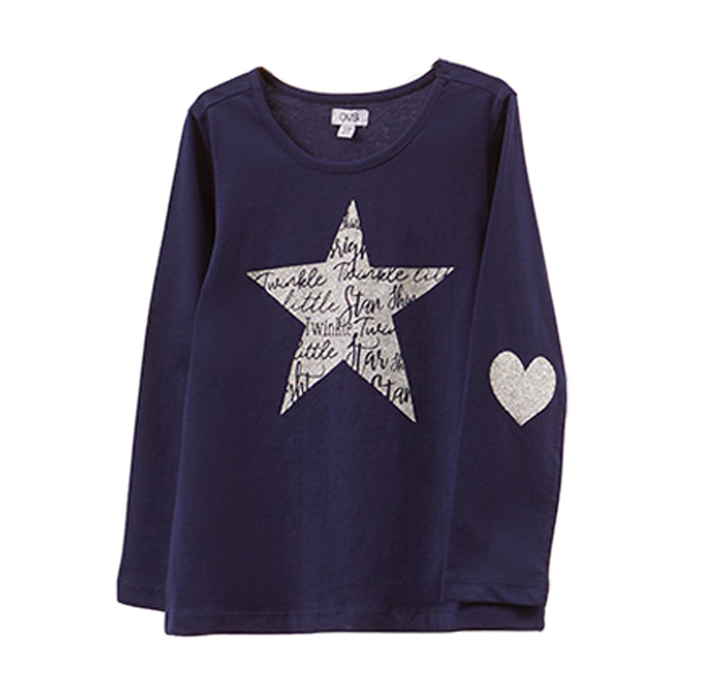 טישרט עם שרוולים ארוכים OVS לילדות - כחול עם לב נוצץ וכוכב