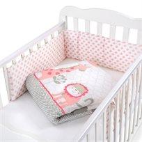 סט מצעים 3 חלקים למיטת תינוק 100% כותנה - ג'ירפה
