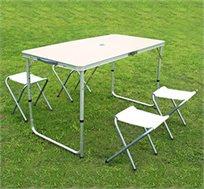 שולחן פיקניק מתקפל למזוודה קומפקטית ובתוכה 4 כיסאות נפרדים, עשוי מאלומיניום קל משקל ונוח לנשיאה