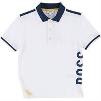 BOSS בוס (16-4 שנים) חולצת פולו לבן סמל בצד