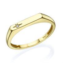 טבעת חותם זהב צהוב בשיבוץ יהלום