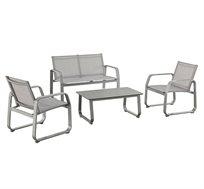סט ריהוט גינה מאלומיניום הכולל שולחן וכורסאות דגם WHITE