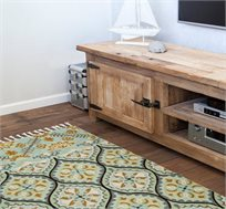 שטיח צמר בעבודת יד בצבעי תכלת ירקרק במגוון גדלים לבחירה