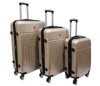 Swiss Travel סט 3 מזוודות קשיחות שמפניה!