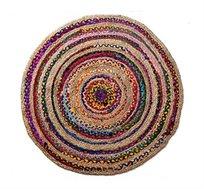 """שטיח יוטה כותנה בעיצוב יחודי בעבודת יד בקוטר 150 ס""""מ Ginger"""