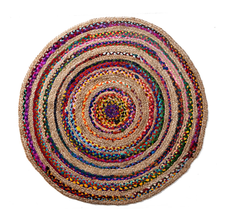 שטיח כותנה עגול מודפס בעבודת יד דגם יוטה