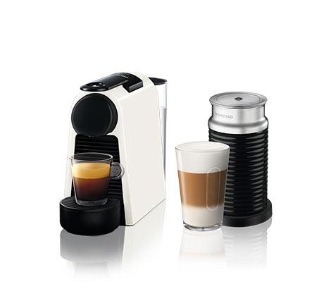 מכונת קפה NESPRESSO  אסנזה מיני בצבע לבן דגם D30 כולל מקציף חלב ארוצ'ינו