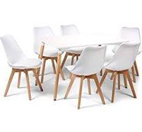 פינת אוכל עם 6 כסאות מרופדים בעיצוב סקנדינבי