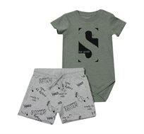 סט בגד גוף ומכנסיים Minene לתינוקות - ירוק זית