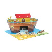 בית בובות 'תיבת נוח' בעיצוב מרהיב עם משטח משחק מעוצב וצבעוני, כולל סט אביזרים ובובות משחק