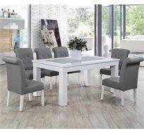 פינת אוכל מעץ משולב פורניר כוללת שולחן + 6 כסאות אלסקה