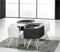 פינת אוכל מעוצבת ומודרנית מזכוכית + 4 כיסאות מרופדים או פינת אוכל מלבנית + 6 כיסאות לבחירה
