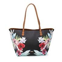 Desigual Bols Oima Capri Zipper  - תיק טרפז גדול בצבע שחור עם הדפס טרופי של פרחים