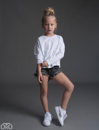 Oro/ שורט ג'ינס (16-2 שנים) - פרנזים שחור