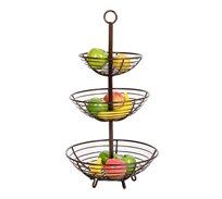 מעמד מעוצב ממתכת למטבח או לסלון בעל שלוש סלסלות לפירות וירקות או לחפצים קטנים U DESIGN