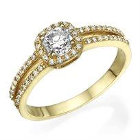 """טבעת אירוסין """"היילו קושיין"""" 1.06 קראט זהב צהוב"""