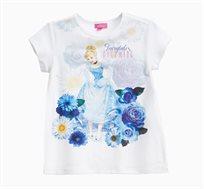 חולצה OVS קצרה לילדות - לבן עם הדפס סינדרלה