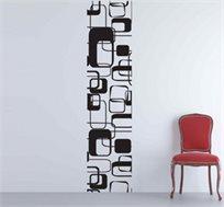 מדבקת קיר - סטריפ רטרו סטייל, יוצרת פס רציף של דוגמא לאורך או רוחב הקיר