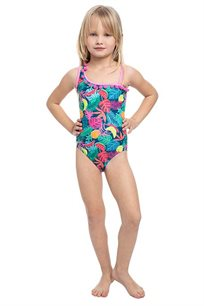 בגד-ים שלם טרופי לילדות Pilpel בצבע צבעוני