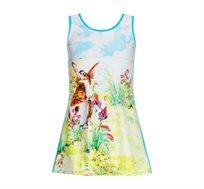 שמלה PILPEL מבד לייקרה - תכלת עם דפוס פסטורלי של ארנב בשדה
