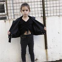 ORO חולצה (6-3 שנים) - שחור כיווץ