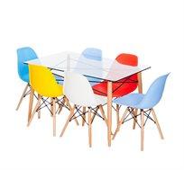 סט פינת אוכל הכולל שולחן זכוכית מחוסמת בשילוב מתכת ו-4 כסאות צבעוניים