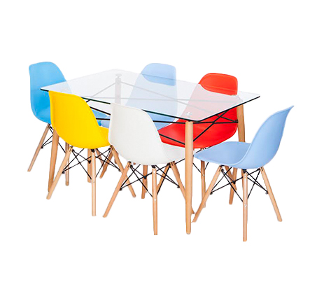 פינת אוכל מודרנית + 4 כסאות בשילוב זכוכית ומתכת