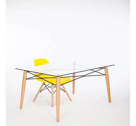 סט פינת אוכל הכולל שולחן זכוכית מחוסמת בשילוב מתכת ו-4 כסאות צבעוניים - תמונה 3
