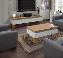 מערכת מזנון ושולחן לסלון בגימור אפוקסי לבן בשילוב עץ המעוצבים במראה יוקרתי LEONARDO - משלוח חינם