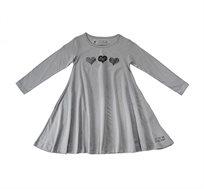 שמלת ג'רזי מסתובבת עם שרוול ארוך - אפור בשילוב הדפס לבבות
