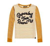 חולצה ארוכה בהדפס פסים ולוגו המותג Superdry Andie לנשים בצבע לבן/חרדל