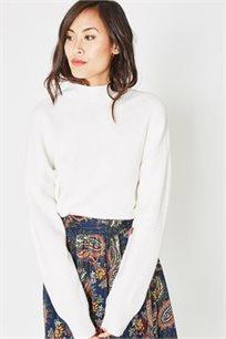 סוודר עם צווארון גבוה PROMOD לנשים - לבן